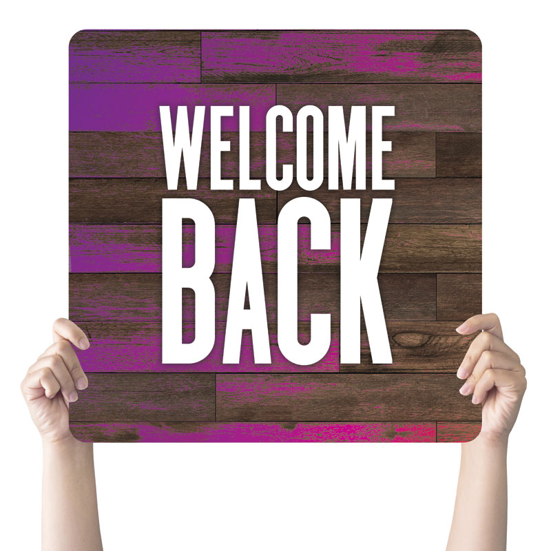 Handheld Signs, Welcome Back, Colorful Wood Welcome Back, 21 x 21