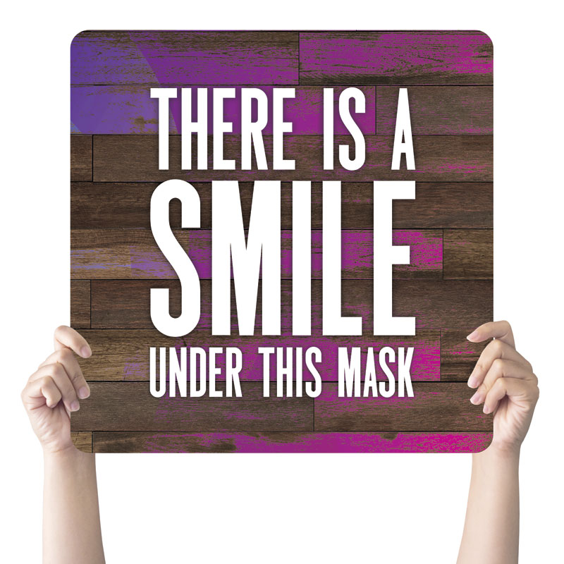 Handheld Signs, Welcome Back, Colorful Wood Smile Mask, 21 x 21