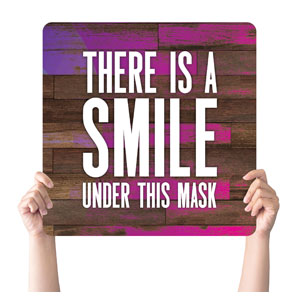 Colorful Wood Smile Mask Handheld sign