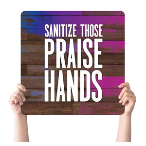 Colorful Wood Praise Hands Handheld sign