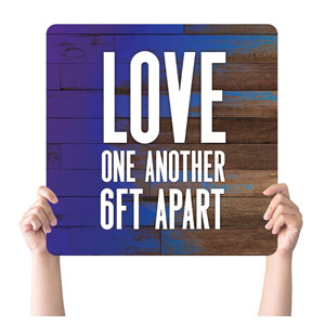 Colorful Wood Love One Another Handheld sign