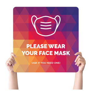Geometric Bold Face Mask Handheld sign
