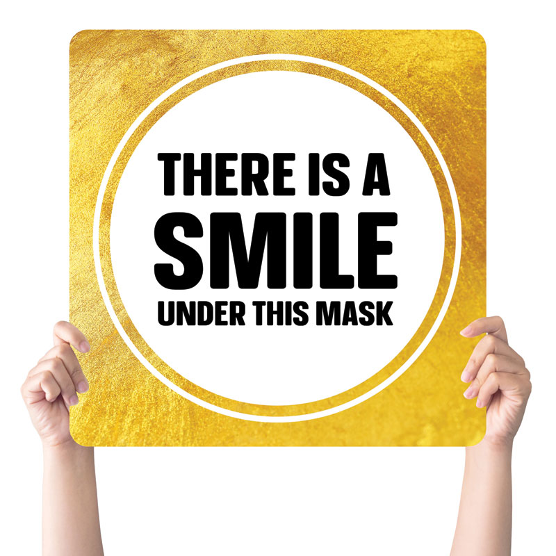 Handheld Signs, Welcome Back, Gold Dot Smile Mask, 21 x 21