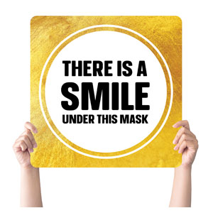 Gold Dot Smile Mask Handheld sign