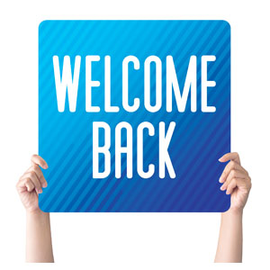 Retro Geo Blue Welcome Back Handheld sign