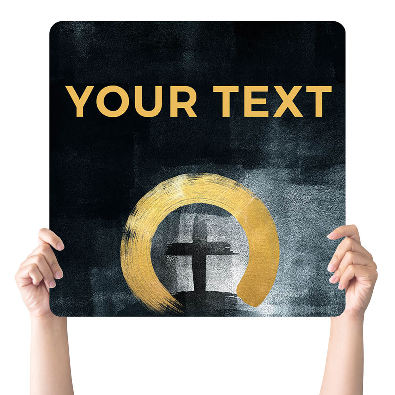 Handheld Signs, Easter, Hope Is Alive Gold Your Text, 21 x 21