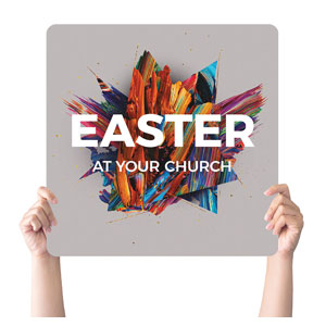 CMU Easter Invite 2021 Grey Handheld sign