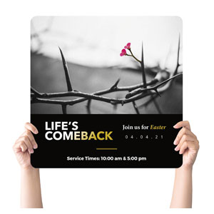 Life's Comeback Handheld sign
