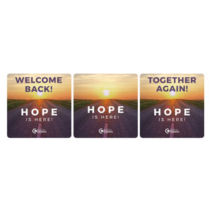 BTCS Hope Is Here Welcome Set Handheld sign