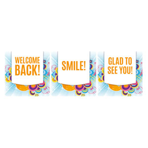Welcome Back Swirls Set Handheld sign