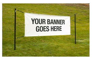 outdoor banner display system displays stands