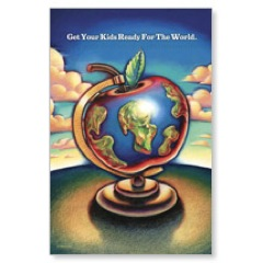 Apple Globe Postcard