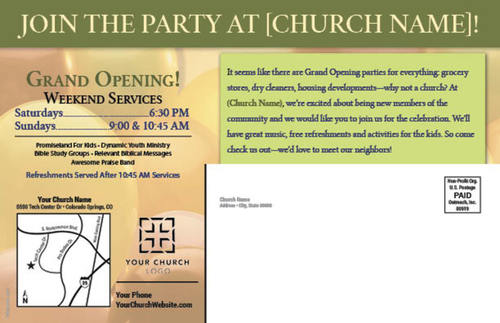 grand opening postcard church postcards outreach marketing