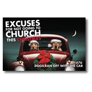 Christmas Dog Church Postcards