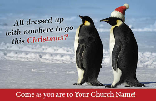 Church Postcards, Christmas, Christmas Penguins, 5.5 X 8.5