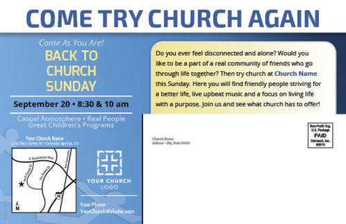 back to church community postcard
