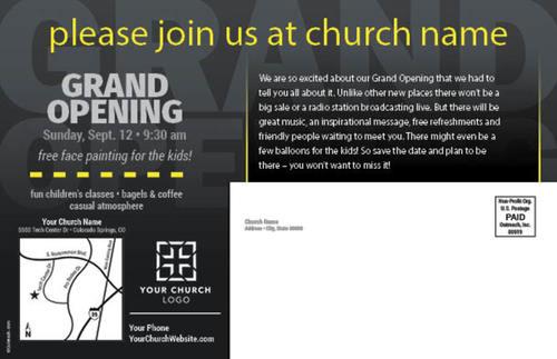 grand opening black postcard church postcards outreach marketing