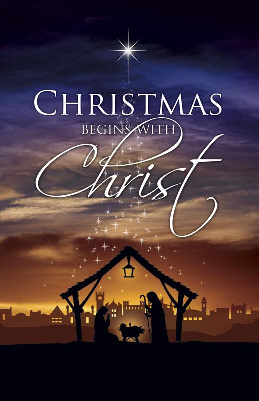 Christmas Begins Christ Postcard Church Postcards Outreach Marketing