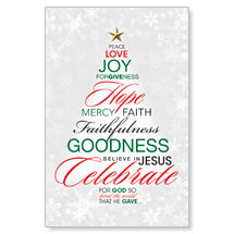 Christmas Word Tree Postcard