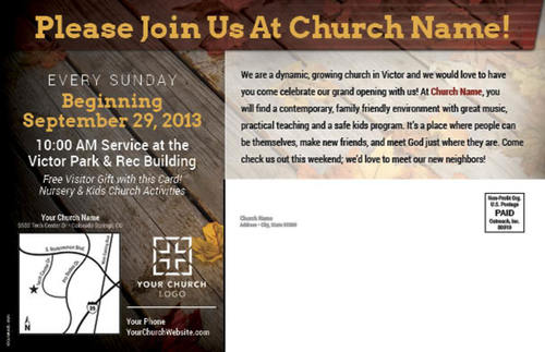 fall grand opening postcard - church postcards