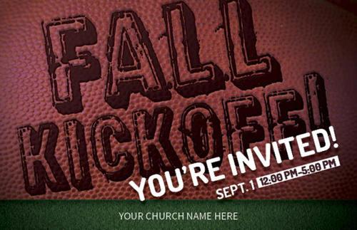 fall kickoff football postcard