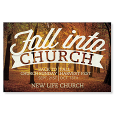 Fall Into Church Postcard