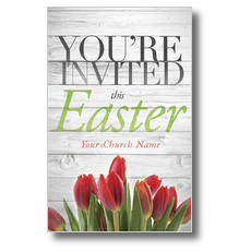 Easter Invited Wood Postcard