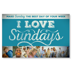 I Love Sundays Blue Postcard