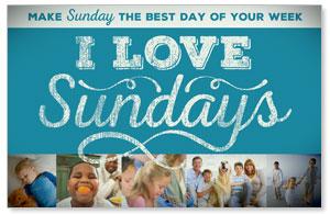 I Love Sundays Blue Postcards