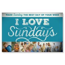 I Love Sundays Blue Postcard