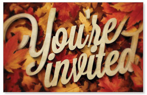 Invited Leaf Pile Postcards
