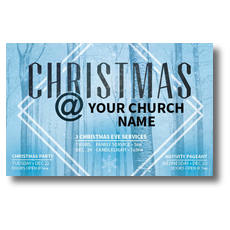 Blue Trees Christmas Postcard