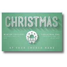 Green and White Christmas Postcard