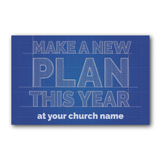 Blue Print Plan Postcard