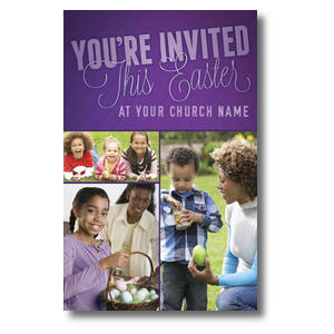 Invited This Easter Purple Postcards