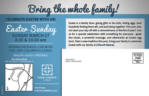 Blue white easter at postcard church postcards outreach marketing image 2 negle Images