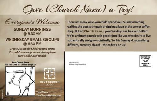 Coffee Invite Postcard Church Postcards Outreach Marketing