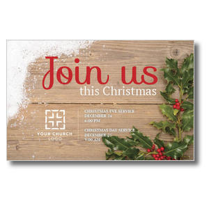 Christmas Holly Church Postcards