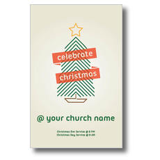 Christmas Tree Line Art Postcard