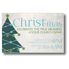 Teal Tree Christmas Postcard