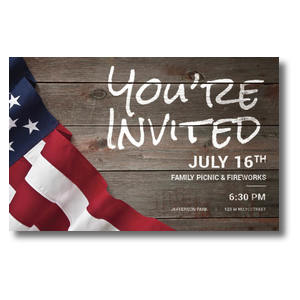 American Flag Invited 4/4 ImpactCards