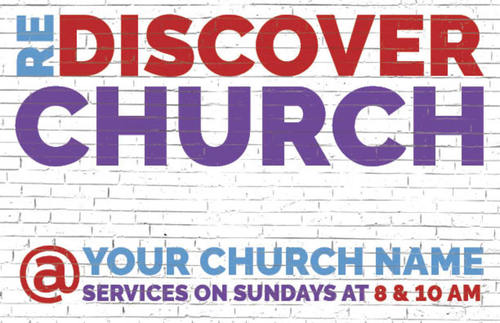 Church Postcards, You're Invited, Brick Rediscover Church, 5.5 X 8.5