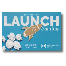 Paper Rocket Launch Postcard