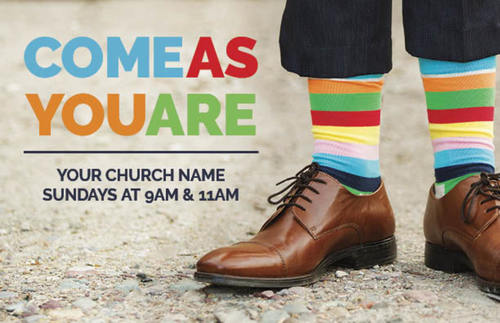 come as you are socks postcard