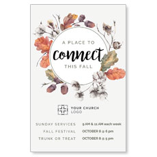 Connect Fall Wreath Postcard