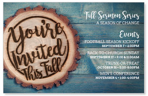 Wood Cut Fall Invited Postcards