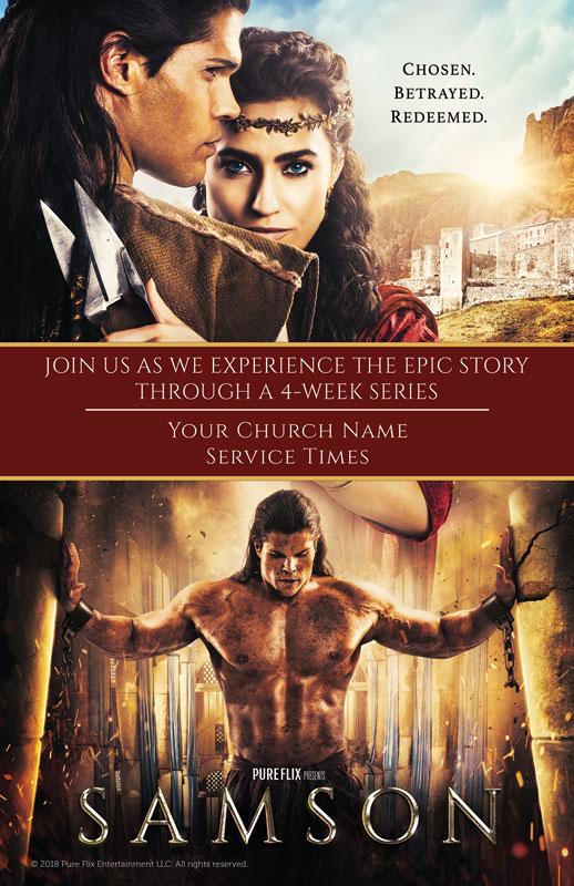 samson movie postcard - church postcards