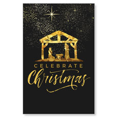 Black and Gold Nativity Postcard