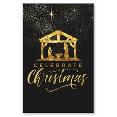 Black and Gold Nativity Postcard