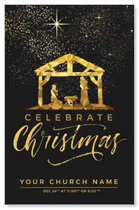 Black and Gold Nativity Church Postcards